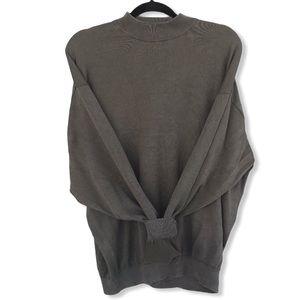 Olive Green Cotton & Silk Mock Neck Sweater